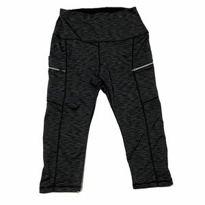 ododos Gray and Black Cropped Work Out Leggings M
